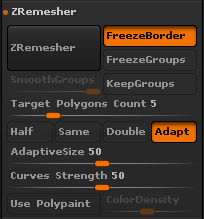 ZRemesherのパラメータ